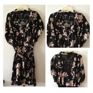 Angie Dresses - (N) Black Floral Shirt Plus Midi Dress Sz-3X